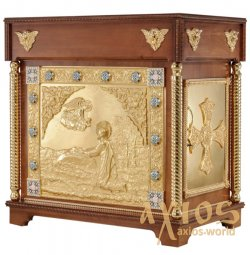 The altar is rectangular, wooden, №4 with a door and gilded elements - фото