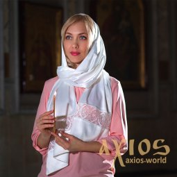Scarf Elisha (two models - with inserts and with lace ending), (S102-6100) - фото