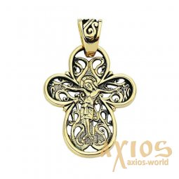 Cross on the Tree of Life, gold 585 ° with blacking - фото