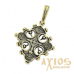 The cross is a two-sided eight-pointed cross, gold 585 ° with blacking - фото