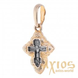 Neck cross, silver 925 ° with gilding and blackening, 25x13 mm, O 131754 - фото