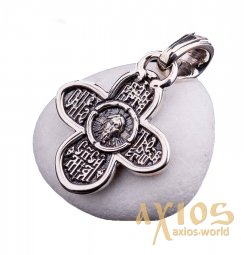 Native cross «Savior Not Made by Hands. Prayer», silver 925 ° with blackening, 30x17 mm, O 131018 - фото