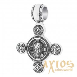 Native cross «Savior Not Made by Hands. Angel Guardian», silver 925 ° with blackening, 25x17 mm, O 13447 - фото