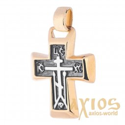 Neck cross, silver 925 ° with gilding and blackening, 30x20 mm, O 131757 - фото