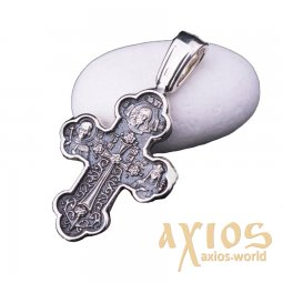 The cross «Crossing the Cross. The Don Icon of the Mother of God», silver 925 ° with blackening, 35x20 mm, O 13606 - фото