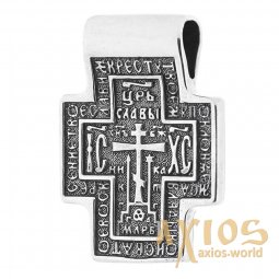 The natty cross «Lord Almighty. Icon of the Mother of God», silver 925 ° with blackening, 30x25 mm, О 13324 - фото