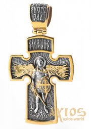 The cross «Crucifixion. Archangel Michael, silver 925 ° with gilding and blackening», 50x30 mm, O 132504 - фото