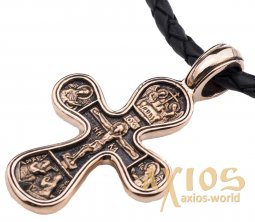 The cross «Crucifixion», gold 585 °, with blacking 42x25 mm, О п02650 - фото
