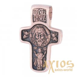 Native cross «Savior Not Made by Hands. Saint Nicholas the Wonderworker», gold 585 °, with blackening 25x18 mm, О п00619 - фото