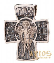 Native cross «Archangel Michael», gold 585 °, with blackening 35x30 mm, О п02684 - фото