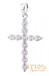 Neck cross, silver 925 °, with rhodium 30x17 mm, O 132014 - фото