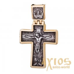The cross «Crucifixion», silver 925 °, with blackening 55x35 mm, O 131930 - фото