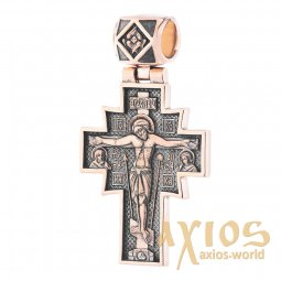 The cross «Crucifixion. Icon of the Mother of God », gold 585 °, with blackening 50x35 mm, О п02636 - фото