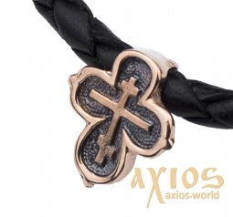 Neck cross, gold 585 °, with blackening 10x10 mm, О п02666 - фото