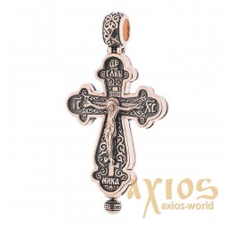 Native cross-relic with prayer, gold 585 °, with blackening 40x20 mm, О п01762 - фото