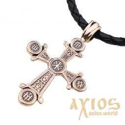 Native cross, «Christ's» gold 585 °, with blackening 45x28 mm, О п02654 - фото