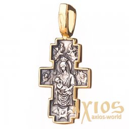 The cross «Crucifixion. Icon of the Mother of God «Mammal», silver 925 °, with blackening 27x11 mm, O 131689 - фото