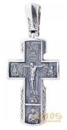 The cross «Crucifixion», silver 925 °, with blackening 50x25 mm, О 132346 - фото
