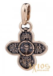 The cross, «The Savior Not Made by Hands. Prayer» gold 585 °, with blackening 29x18 mm, О п02668 - фото