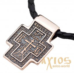 Neck cross, gold 585 °, with blackening 27x20 mm, О п02675 - фото