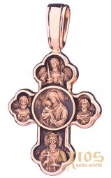 The cross «Crossing the Cross. The Don Icon of the Mother of God», 585 ° gold, 38х21 mm black, О п01840 - фото