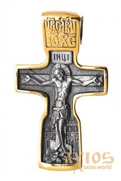 The cross «Crucifixion» silver 925 °, with gilding and blacking 30x19 mm, О 131454 - фото