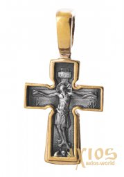 The cross «Crucifixion. Pray God's mercy» silver 925 °, with gilding and blacking 23x12 mm, O 131670 - фото