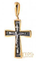 The cross «Crucifixion. Save and save» silver 925 °, with gilding and blackening 30x17 mm, O 132462 - фото