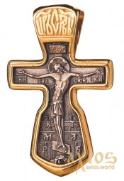 The cross «Crucifixion» silver 925 °, with gilding and blackening 30x18 mm, O 131683 - фото