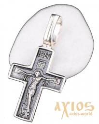 The cross «Crucifixion. Pray save and save» silver 925 °, with blackening 20x12 mm, О 131379 - фото