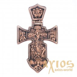 The cross «Crucifixion. Angel Guardian», gold 585 °, with blackening 40x32 mm, О п01841 - фото