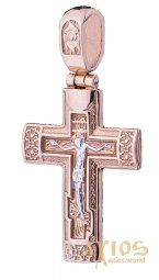 A cross with a crucifix, gold 585 °, with a blackening 40x32 mm - фото