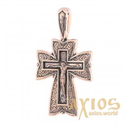 The cross «Crucifixion. Prayer to the Lord», gold 585 with blackening, 43x22 mm, О п02677 - фото