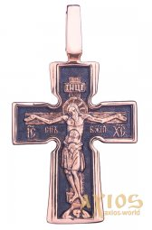 The cross «Crucifixion». Our Lady «Incarnation». «Five Saints», gold 585 with black, 45x25mm, О п01749 - фото