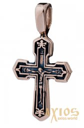 Neck cross, gold 585 with blackening, 45x25mm, О п02536 - фото