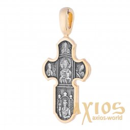 The natty cross «Lord Almighty. Icon of the Mother of God «Indestructible Wall», silver 925 with gilded black, 54x26mm, О 131465 - фото