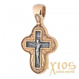 Native cross, silver 925 with gilding and blackening, 30x17mm, O 131467 - фото