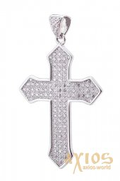 Neck cross, silver 925 with rhodium, 30x17mm, O 132008 - фото
