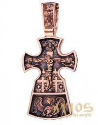 The cross «Crucifixion. Icon of the Mother of God «Seven-Shot, gold 585 with blackening», 30x20mm, О п01652 - фото