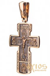 The cross «Crucifixion», gold 585 with blackening, 50х22mm, О п02408 - фото