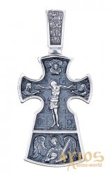 The cross «Crucifixion. A prudent thief» silver 925 with black, 36x17mm, O 13601 - фото