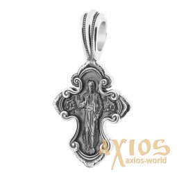 Neck cross, silver 925 with black, 37x21mm, O 131189 - фото
