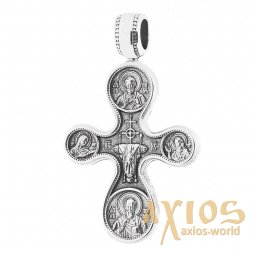 The natest cross «Etimasiya. Eight Saints», silver 925 with blackening, 35x21mm, O 13529 - фото