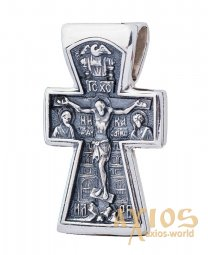 The cross «Crucifixion», silver 925 with blackening, 28x17mm, О 13141 - фото