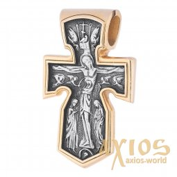 The cross «Crucifixion», silver 925 with gilding and blackening, 32x20mm, О 132391 - фото