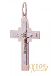 A cross from red and yellow gold, О 28331 - фото