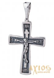 The cross «Crucifixion», silver 925 with blackening, 33x16mm, О 131652 - фото