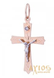 The cross «Crucifixion», gold 585, 25x15 mm, О п02294 - фото