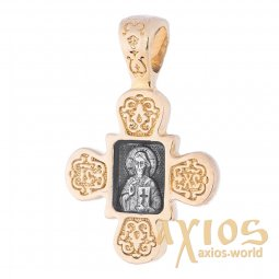Neck cross, silver 925 with gilding and blackening, 22x15mm, O 132389 - фото