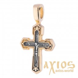 Neck cross, silver 925 with gilding and blackening, 23x12mm, O 132388 - фото